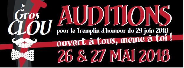 Auditions tremplin humoristique : le Gros Clou – 26&27 mai 2018 – MJC Pichon